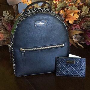 Kate Spade leopard backpack and card case BUNDLE